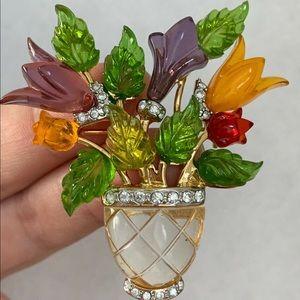JC brooch Moonstone Lily Flower vintage 1960